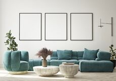 Free Mock Up Poster In Modern Interior Background, Living Room, Minimalistic Style 3D Render Stock Photography - 225618322