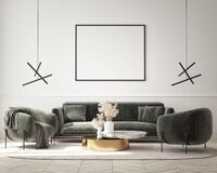 Free Mock Up Poster In Modern Interior Background, Living Room, Minimalistic Style 3D Render Stock Photos - 225639813