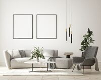Free Mock Up Poster In Modern Interior Background, Living Room, Minimalistic Style 3D Render Royalty Free Stock Photography - 225639817