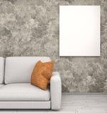 Mock up poster in interior background, 3D render Stock Image