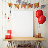 Mock up poster in interior background with party decoration, Royalty Free Stock Images