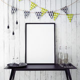 Mock up poster in interior background with party decoration,