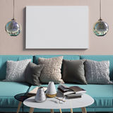 Mock up poster in interior with coffee table and sofa. living ro. Om. resting place. modern style. 3d illustration Royalty Free Stock Images