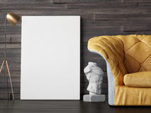 Mock up poster, interior composition, sofa, lamp, sculpture and white poster, Stock Image