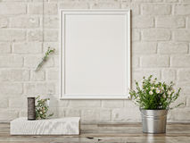 Mock up poster, interior composition,white brick wall, flowers, white poster,. 3d render Royalty Free Stock Photography