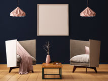 Mock up poster in the interior of a living room with armchairs and lamps. 3d illustration 3d render. Mock up poster in the interior of a living room with Stock Images