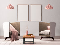 Mock up poster in the interior of a living room with armchairs and lamps. 3d illustration 3d render. Mock up poster in the interior of a living room with stock illustration