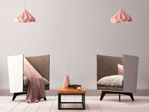 Mock up poster in the interior of a living room with armchairs and lamps. 3d illustration 3d render. Mock up poster in the interior of a living room with Royalty Free Stock Images