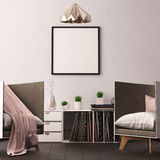 Mock up poster in the interior of the living room with boxing for vinyl LPs. hipster trend style. 3d rendering, 3d illustration. Royalty Free Stock Photo
