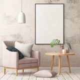Mock up poster in the interior in the style of a lag with a chair. Scandinavian style. 3D rendering Stock Images