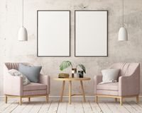 Mock up poster in the interior in the style of a lag with a chair. Scandinavian style. 3D rendering Royalty Free Stock Images