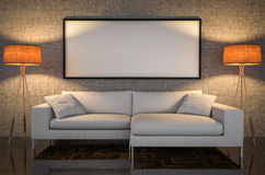 Mock up poster, leather sofa, concrete wall background, 3d illus Stock Image