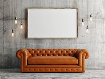 Mock up poster, leather sofa, concrete wall background, 3d illustration Royalty Free Stock Photography