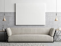 Mock up poster in living room, Royalty Free Stock Photos