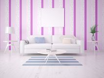 Mock up poster of the living room with a light sofa. Mock up poster of the living room with a light sofa on the background of glamorous wallpaper Stock Images