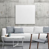 Mock up poster in Living room, minimalism interior design. 3d illustration Stock Photos