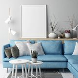 Mock up poster, Living room Nordic concept design, blue sofa on gray background,. 3d illustration, 3d render stock illustration