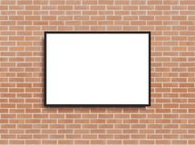 Mock up poster with loft interior background. Frame on the wall. Photoframe mockup. Brick wall. Vector template for picture,poster stock illustration
