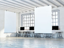 Mock up poster in loft space, 3d illustration Stock Photography