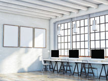 Mock up poster in loft space, 3d illustration Stock Photos