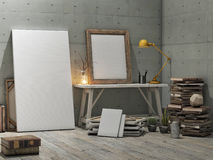 Mock up poster, loft studio, concrete wall background Royalty Free Stock Photos