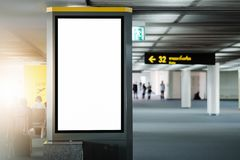 Mock up Poster media template Ads display in Subway station escalator stock images