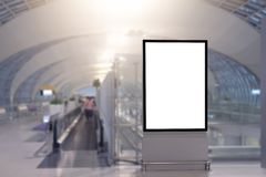 Mock up Poster media template Ads display in Subway station escalator. Blank advertising billboard at airport.Mock up Poster media template Ads display in Subway royalty free stock photo