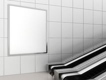 Mock up poster media template ads display in Subway station escalator. 3d rendering Royalty Free Stock Photo