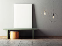 Mock up poster in minimalism interior design Stock Photography