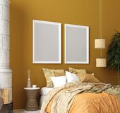Mock up poster, mustard color bedroom interior with patterned bed, Bohemian style. 3d render stock photography