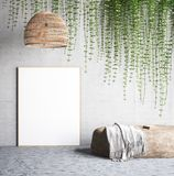 Mock up poster near concrete wall with lamp,ivy on the wall and stone stock illustration