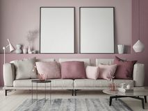 Free Mock Up Poster On Rose Wall In Hipster Living Room, Pastel Colored Stock Image - 122240691
