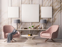 Mock up poster in a pastel interior with armchairs and a table. 3D rendering. Mock up poster in a pastel interior with armchairs and a table Stock Photo