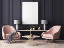 Mock up poster in a pastel interior with armchairs and a table. 3D rendering. Mock up poster in a pastel interior with armchairs and a table Stock Photography