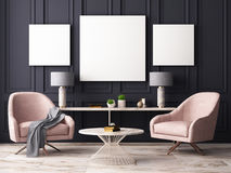 Mock up poster in a pastel interior with armchairs and a table. 3D rendering. Mock up poster in a pastel interior with armchairs and a table Royalty Free Stock Image