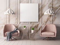 Mock up poster in a pastel interior with armchairs and a table. 3D rendering. Mock up poster in a pastel interior with armchairs and a table Stock Images