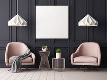 Mock up poster in a pastel interior with armchairs and a table. 3D rendering. Mock up poster in a pastel interior with armchairs and a table Royalty Free Stock Photography