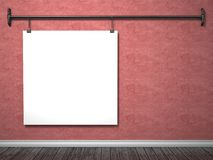 Mock up poster on red wall and pipe frame, 3D. Render illustration Royalty Free Stock Image