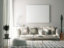 Mock up poster in Scandinavian living room concept,. 3d render, 3d illustration vector illustration