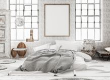 Mock-up poster in shabby interior background, Scandinavian style. 3d render stock photos