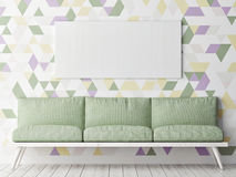 Mock up poster, sofa and decorative geometric wall background, Stock Photo