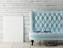 Mock up poster, sofa, hipster interior Stock Photography