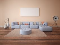 Mock up poster spacious living room. Royalty Free Stock Photos