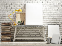 Mock up poster on table, wooden floor and brick wintge background. Vertical concept. Mock up poster on table, wooden floor and brick wintge background Royalty Free Stock Images