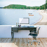 Mock up poster of travel blogger work desktop with beach view Stock Photo