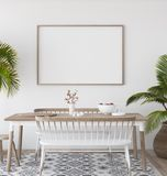 Mock-up poster in tropical living room background, Scandi-boho style. 3d render royalty free illustration