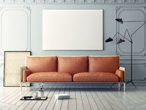 Mock up poster with vintage hipster loft interior background, Royalty Free Stock Photography