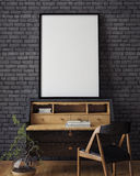 Mock up poster with vintage hipster loft interior background,. 3D render Royalty Free Stock Photos