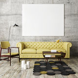 Mock up poster with vintage hipster loft interior background,. 3D render Royalty Free Stock Photo