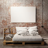 Mock up poster with vintage hipster loft interior background, 3D render Stock Photos